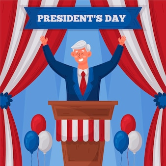 Hand drawn president's day promo illustrated