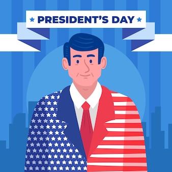 Promozione del giorno del presidente disegnato a mano con illustrazione