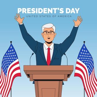 남자와 손으로 그린 대통령의 날 프로모션