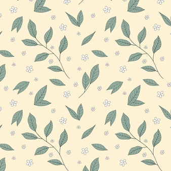 Hand drawn pressed flowers pattern