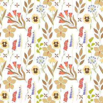 Hand drawn pressed flowers pattern