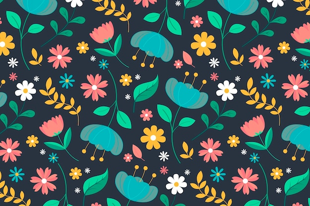 Hand drawn pressed flowers pattern Free Vector