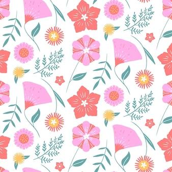 Ручной обращается шаблон прессованные цветы Бесплатные векторы
