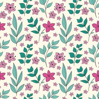 손으로 그린 된 누르면 된 꽃 패턴