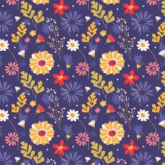 手描き押し花パターン