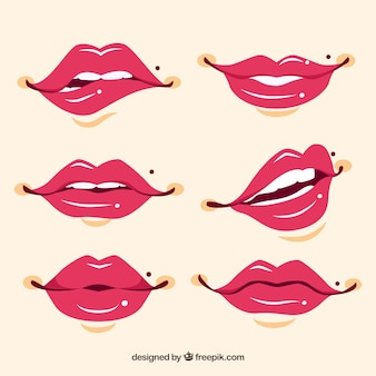 Hand drawn pretty lips set