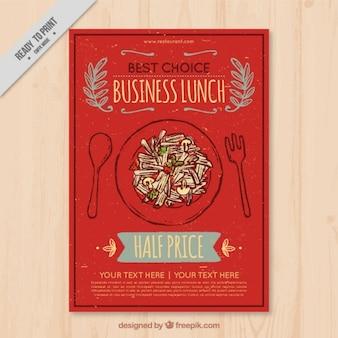 レトロなスタイルで手描きのかわいいレストランのパンフレット