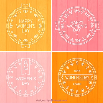 Hand drawn pretty woman day badge collection