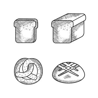 Ручной обращается крендель и хлеб на белом фоне. векторные иллюстрации.