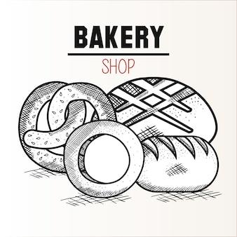 Ручной обращается кренделя и хлеб с хлебобулочные знак на белом фоне. векторные иллюстрации.