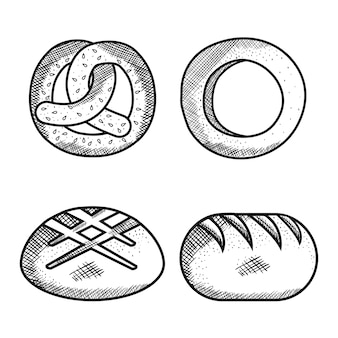 Ручной обращается крендель, хлеб кольцо и хлеба на белом фоне. векторные иллюстрации.
