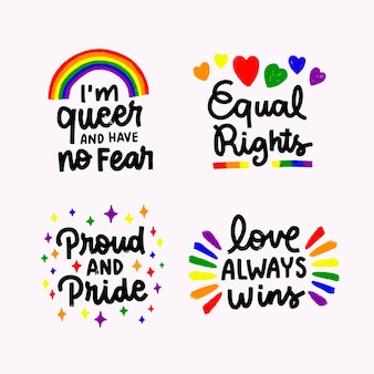 Hand drawn pride day badge collection