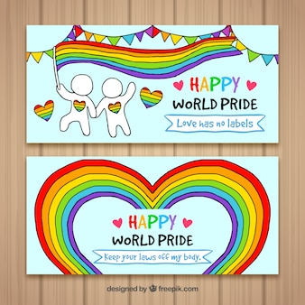 Hand drawn pride day banners