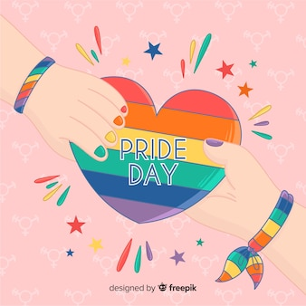 Hand drawn pride day colorful background