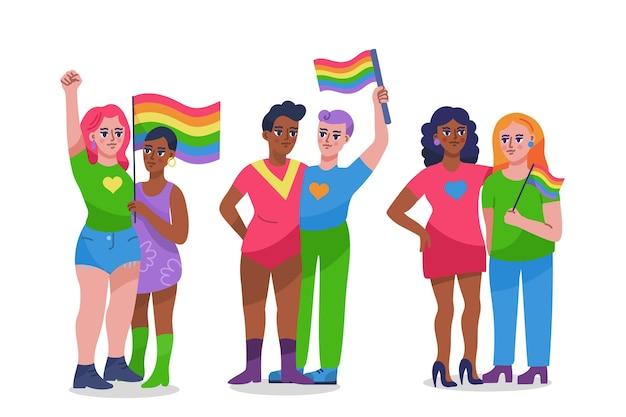 Нарисованная рукой иллюстрация собрания пары дня гордости