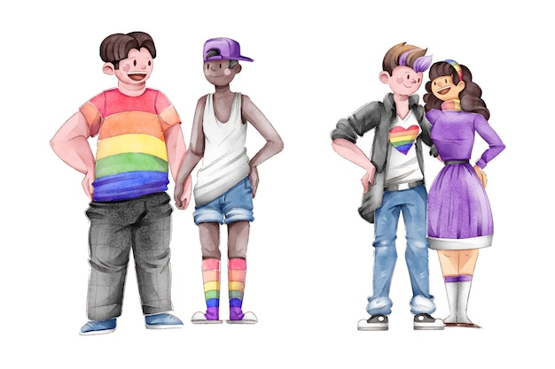 Hand drawn pride day couple collection