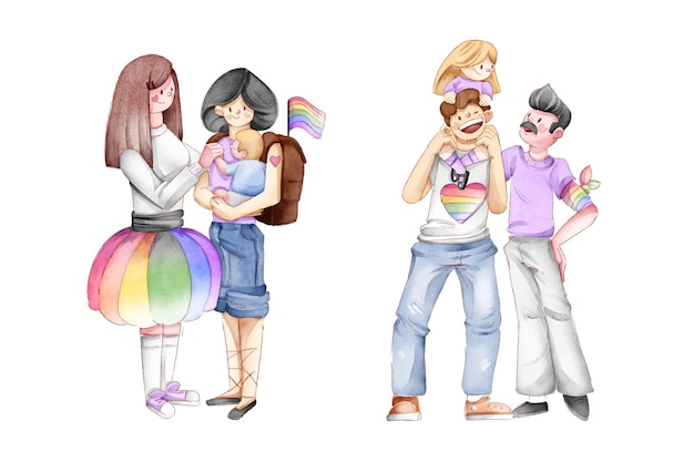 Hand drawn pride day family collection