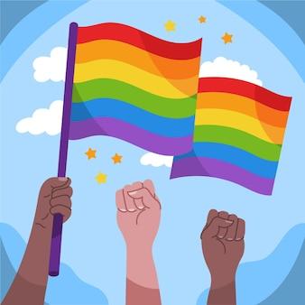 Нарисованная рукой иллюстрация флага дня гордости