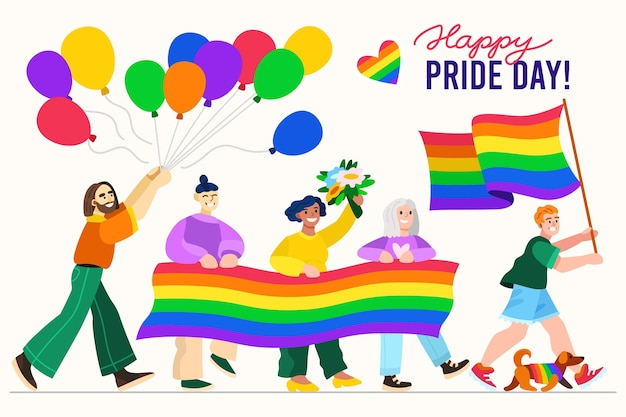 Hand drawn pride day illustration