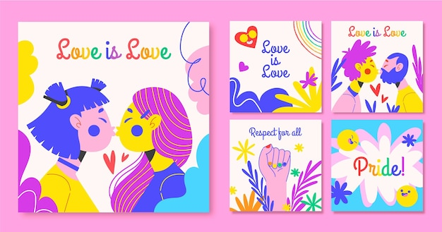Hand drawn pride day instagram posts collection Free Vector