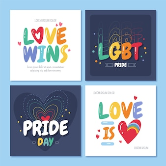 Hand drawn pride day instagram posts collection