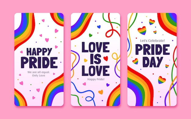 Hand drawn pride day instagram stories collection