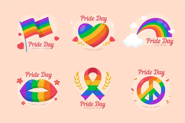 Hand drawn pride day label collection