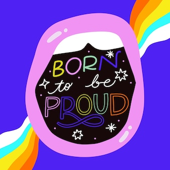 Hand drawn pride day lettering
