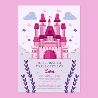 Modello di invito compleanno principessa disegnato a mano