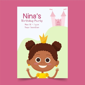 Hand drawn princess birthday invitation template