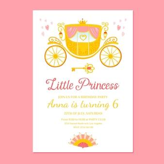 手描きの王女の誕生日の招待状のテンプレート