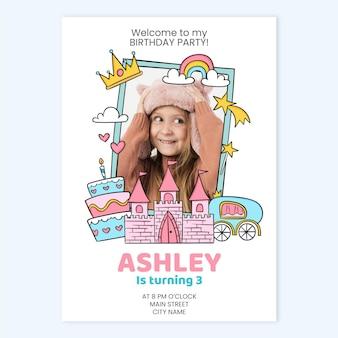 写真テンプレートと手描きの王女の誕生日の招待状