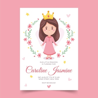 Hand drawn princess birthday invitation
