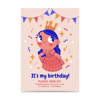 Hand drawn princess birthday invitation