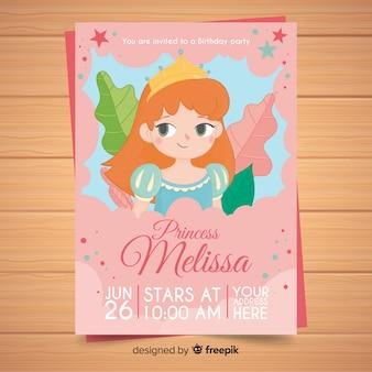 Hand drawn princess party invitation template