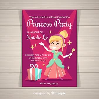 手描きプリンセスパーティーの招待状のテンプレート