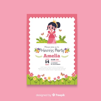 Hand drawn princess party invitation template