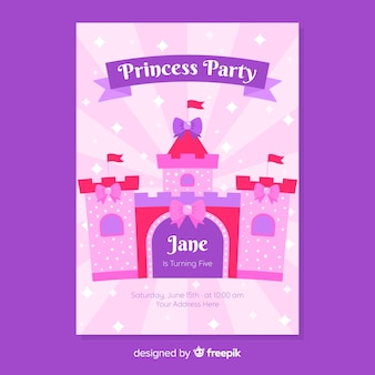 Hand drawn princess party invitation