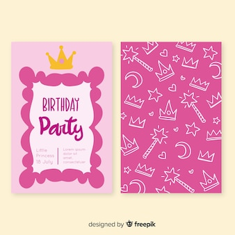 Открытка на день рождения в стиле принцессы