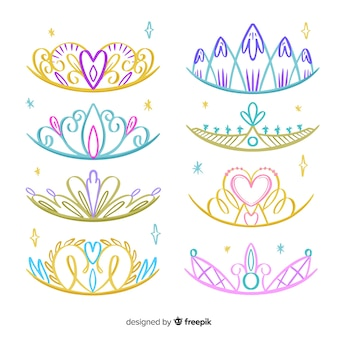 Hand drawn princess tiara pack