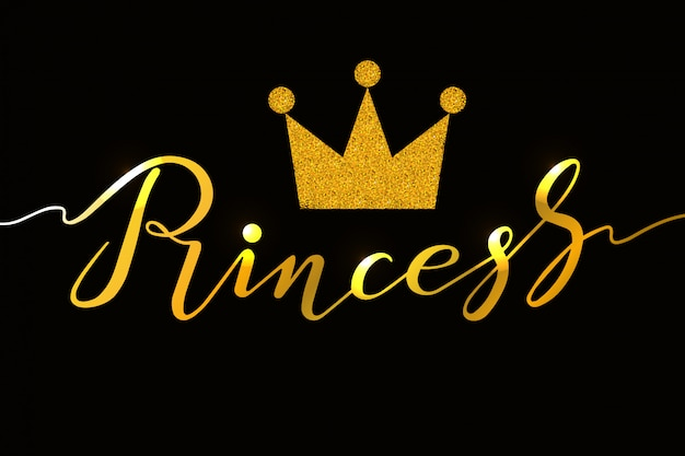 Hand drawn princess typography lettering design