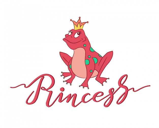 Hand drawn princess typography lettering poster with frog in crown