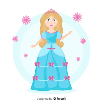 Hand drawn princess with blue dress