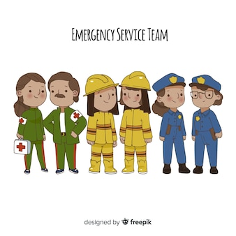 Hand drawn professional emergency team