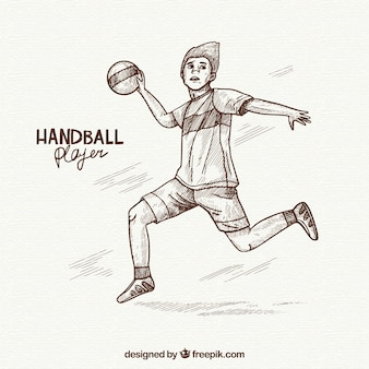 Hand drawn professional handball player