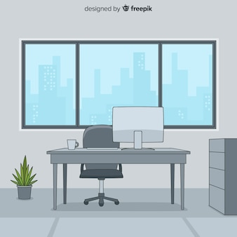 Hand drawn professional office interior