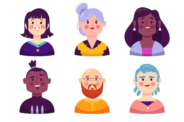 Коллекция рисованной иконок профиля