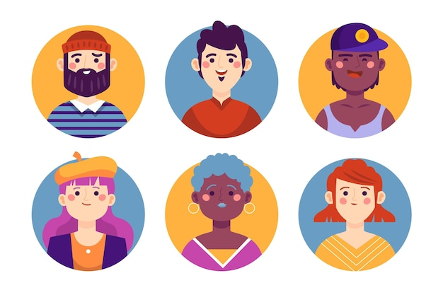 Hand drawn profile icons collection