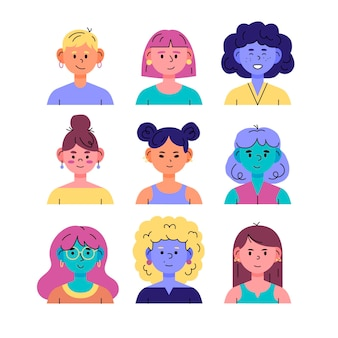 Pacchetto icone profilo disegnato a mano