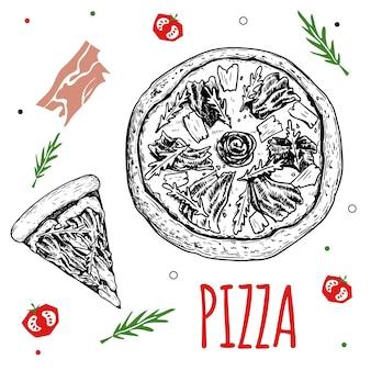 手描きの生ハムのクルードピザのデザインテンプレート。スケッチスタイルの伝統的なイタリア料理。平らな材料を落書きします。ピザ全体とスライス。メニュー、ポスター、チラシのデザインに最適です。ベクトルイラスト。